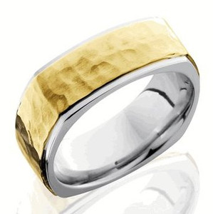 Men's Square Hammered Gold Ring