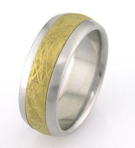 Men's Titanium Gold Hued Gibeon Meteorite Ring