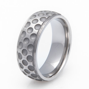 Men's Grooved Edge Titanium Golf Ball Ring
