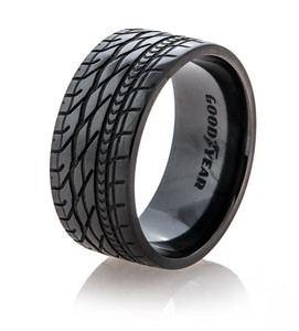 Men's Black Goodyear Eagle Tire Tread Band