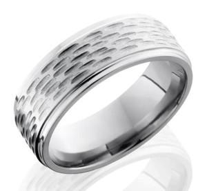 Men's Deep Woods Rustic Titanium Ring with Flat profile