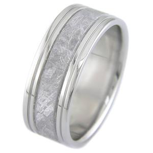 Men's Four Groove Titanium Gibeon Meteorite Ring