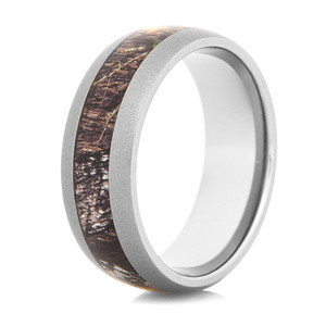 Men's Gunmetal Titanium Mossy Oak Camo Ring
