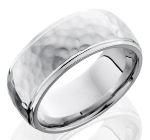 Men's Polished Edge Hammered Cobalt Chrome Ring