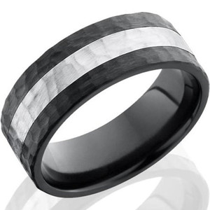Men's Hammered Black Zirconium Ring with Sterling Silver Inlay