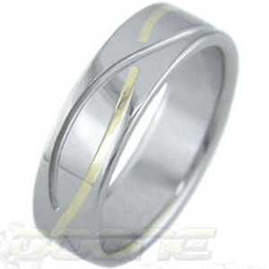 Gold Inlay Titanium Infinity Ring