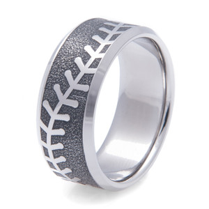 Men's Laser Engraved Titanium Baseball Ring