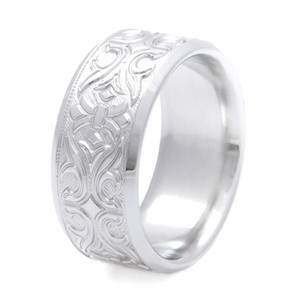 Men's Carved Titanium Country Cowboy Boot Design Wedding Ring
