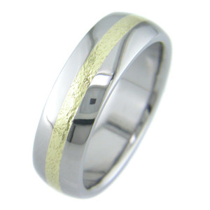 Men's Microhammer Titanium Gold Band