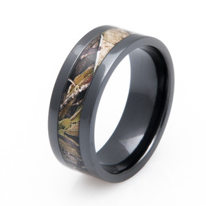 Men's Black Zirconium Mossy Oak Obsession Camo Ring