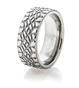 Men's Titanium Goodyear Duratrac Mud Tire Ring