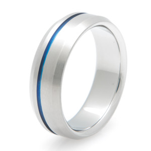 Offset Blue Inlay Colored Titanium Ring