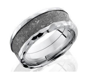 Men's Flat Profile Hammered Cobalt Gibeon Meteorite Ring