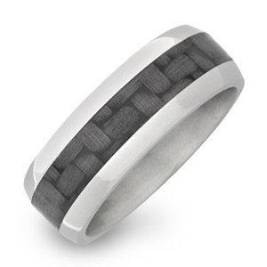 Dome Ring with Carbon Fiber Inlay