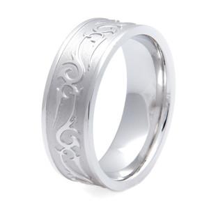 Men's Titanium Rebel Western Carved Wedding Ring- 8mm