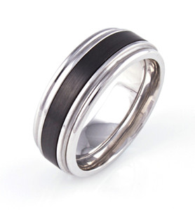 Men's Grooved Edge Cobalt Yankee Ring with Black Zirconium Inlay