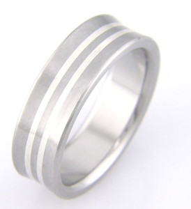 Titanium Scoop Ring with Dual Inlay