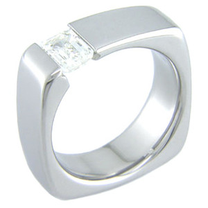 Women's Titanium Squared Tension Set Ring