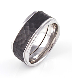 Men's Cobalt Central Park Ring with Hammered Black Zirconium Inlay