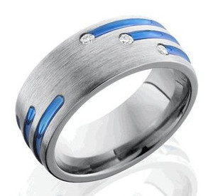 Men's Grooved and Staggered Titanium Diamond Ring