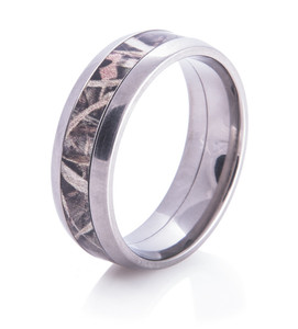 Men's Dome Titanium Camo Wedding Ring