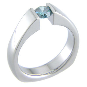 Women's Titanium Tension Set Ring with Squared Back