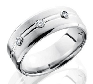 Men's Cobalt Chrome Three-Diamond Wedding Band