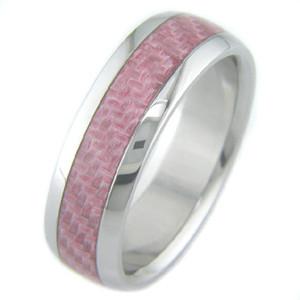 Women's Titanium and Pink Carbon Fiber Ring