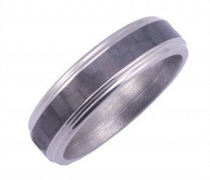 Men's Grooved Edge Titanium Ring with 3mm Carbon Fiber Inlay
