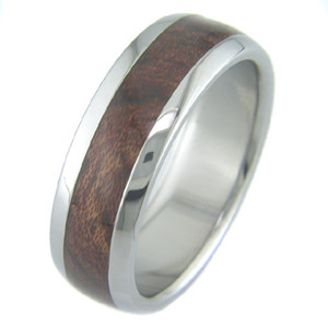Men's Dome Profile Titanium and Bubinga Hardwood Ring