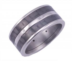 Men's Titanium Multi-Diamond Ring with Dual Carbon Fiber Inlays
