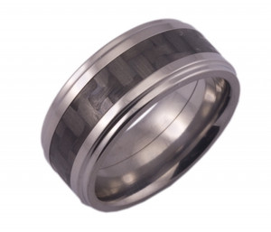 Titanium Ring with Rounded Edges and Carbon Fiber