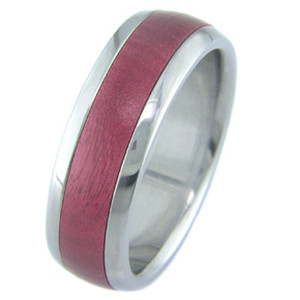 Men's Dome Profile Titanium and Pink Ivory Wood Ring