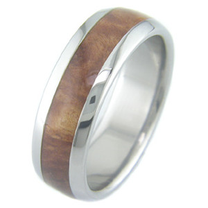Men's Dome Profile Titanium and Burled Red Mallee Ring