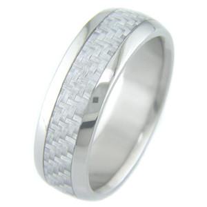 Men's Titanium and Silver Carbon Fiber Ring