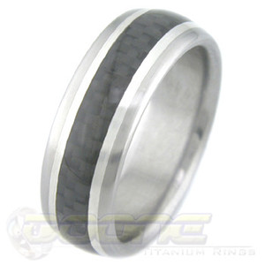 Men's Titanium and Carbon Fiber Ring and Silver Stripes
