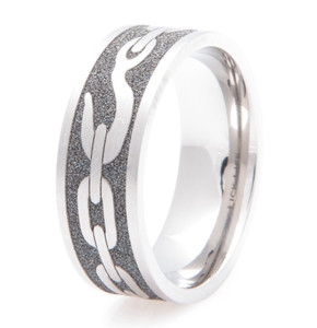 Men's Laser-Carved Titanium Tow Chain Band