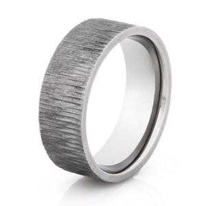 Men's Gunmetal Titanium Tree Bark Ring