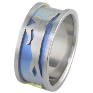 Men's Anodized Titanium Triathlon Ring