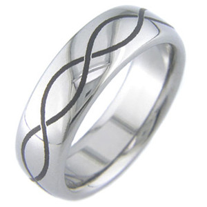 Men's Laser Engraved Titanium Infinity Symbol Ring