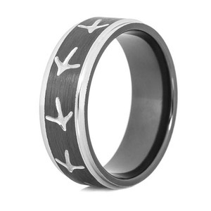 Men's Black and Silver Turkey Tracks Ring