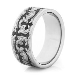Men's Laser-Carved Titanium Vintage-Style Tribal Cross Ring