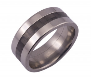 Wide Titanium  Wedding Ring and Carbon Fiber Inlay