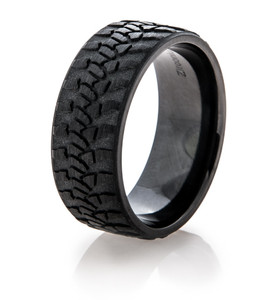 Men's Black Goodyear Wrangler Tire Tread Ring