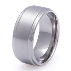 Titanium Ring with Flat Grooved Edge