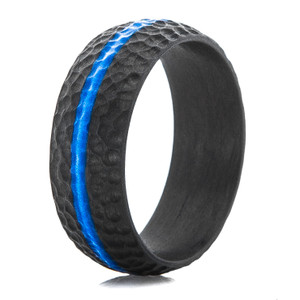 Men's Carbon Fiber Defender Ring with Blue Inlay