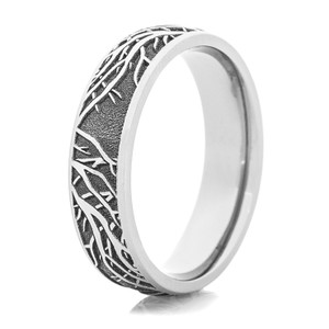 Men's Laser-Carved Titanium Tree Branch Ring