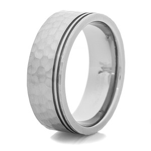 Men's Hammered Titanium Wedding Ring with Dual Offset Grooves
