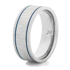 Men's Cross-Satin Titanium Ring with Dual Blue Grooves