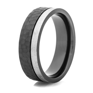 Men's Hammered Black Zirconium Ring with Offset Stone Finish